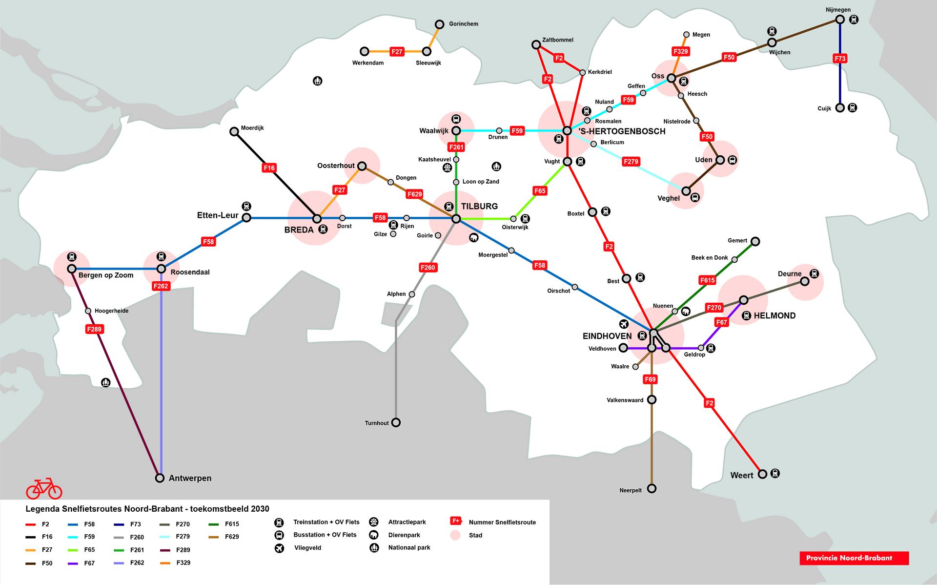 kaart snelfietsroutes